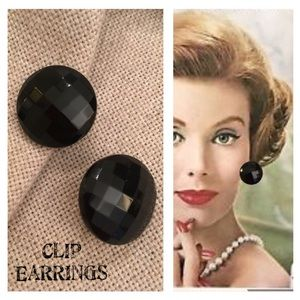 Vintage Faceted Black Glass Button Clip Earrings